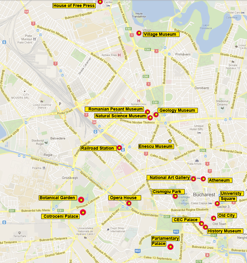 touristic map of bucharest